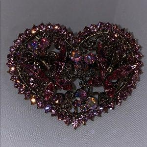 Pink crystal heart hair clip.  New.